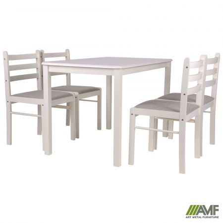 комплект обеденный брауни стол4 стула белый шоколадлатте