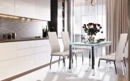 Кухонный комплект стол Сандро Белый + стул Кастилия Платина