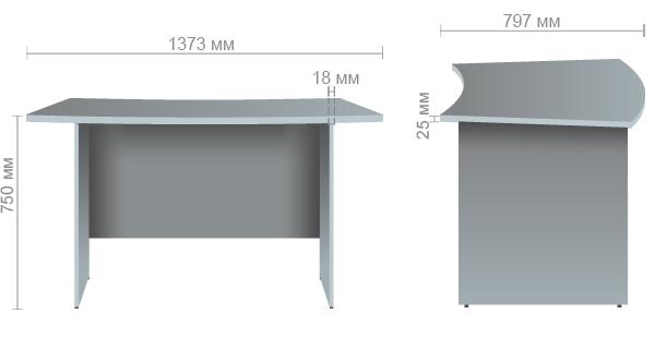 Характеристики Стол письменный МГ-223 (1373х797х750мм) орех темный