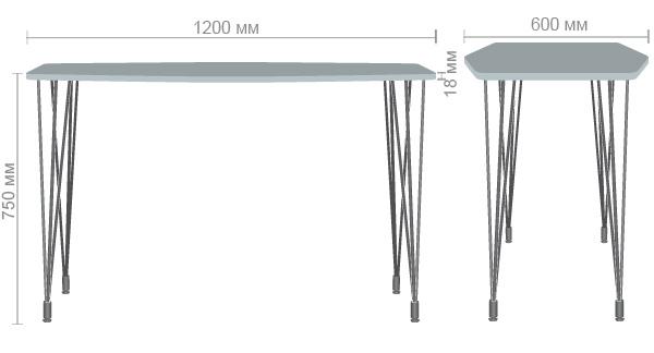 Характеристики Стол Frame 120х60 черный графит/фанера