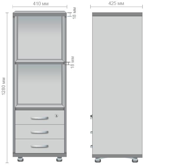 Характеристики Шкаф М34-1 АртМобил ( 410х425х1280мм) клен/кромка серый металлик