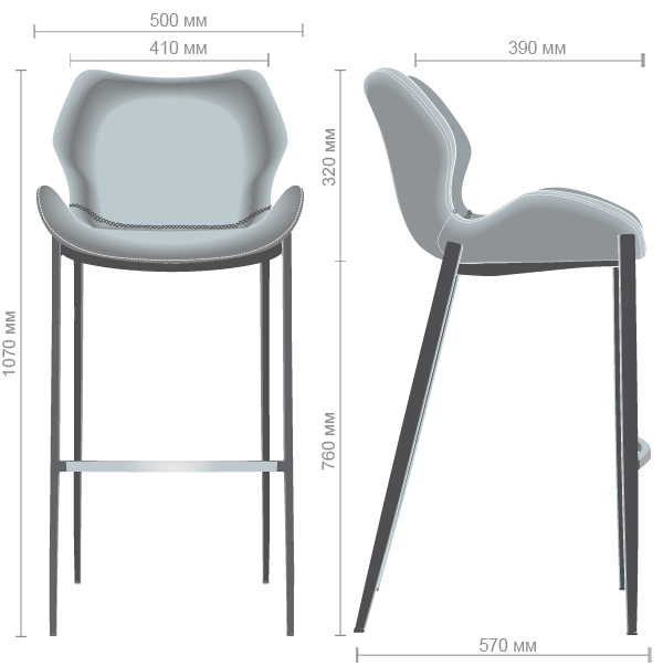 Характеристики Барный стул Clark dimgray PU