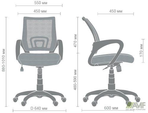 Характеристики Кресло Веб сиденье Сетка черная/спинка Сетка серая