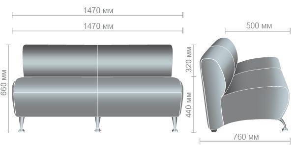 Характеристики Диван Каролина двухместный модуль Неаполь N-20