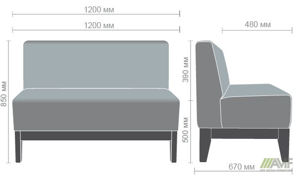 Характеристики Диван Квадро на деревянном каркасе (Н250) орех темный 1200*670*850Н Сидней 19