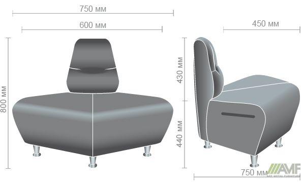 Характеристики Диван Комби угловой наружный модуль Неаполь N-20