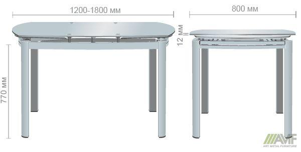 Характеристики Стол обеденный раскладной Кассандра База белый/Стекло белый