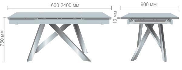 Характеристики Стол Андалусия ET-1601 1600(2400)*900*750 База хром/Стекло белый