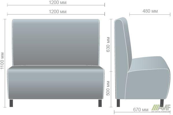 Характеристики Диван Хит на ножках (Н100), венге, 1200*670*1100Н Неаполь N-54