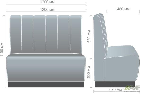Характеристики Диван Гранд на цоколе (100H) венге 1200*670*1100H Жемчуг 04