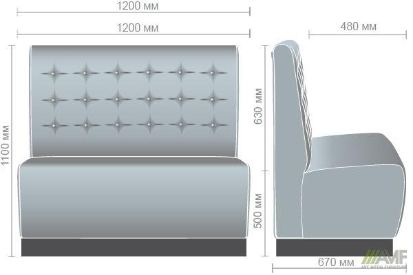 Характеристики Диван Сити на цоколе, темный орех (Н100) 1200*670*1100Н Мадрас голд беж