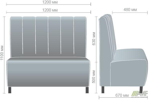 Характеристики Диван Гранд на ножках (100Н) орех темный 1200*670*1100Н Лаки красный