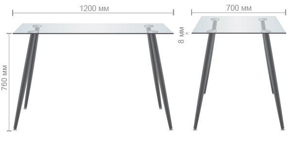 Характеристики Стол обеденный Умберто DT-1633 орех/стекло прозрачное