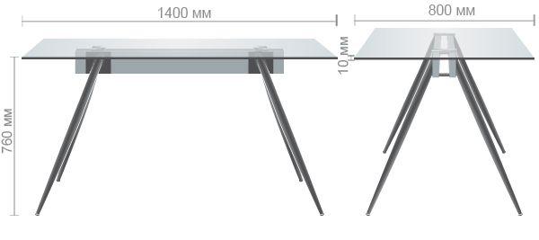 Характеристики Стол обеденный Корлеоне  черный/стекло прозрачное