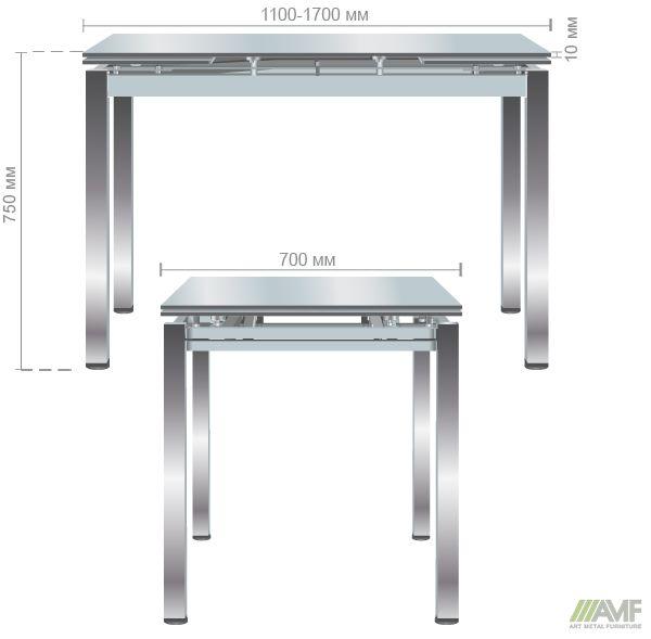 Характеристики Стол обеденный раскладной Сандро хром/стекло серый