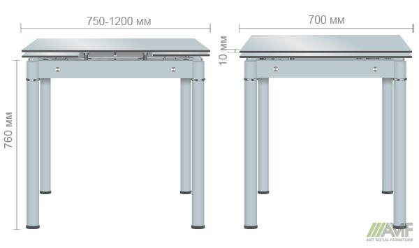Характеристики Стол Челси 750(1200)*700*760 База серый/стекло платина