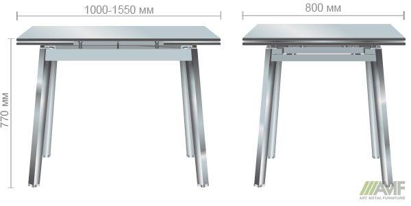Характеристики Стол Виктория 1000(1550)*800*770 База хром/Стекло антрацит