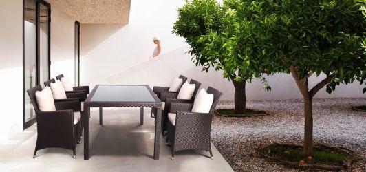 Комплект мебели Samana-6 из ротанга Elit (SC-8849) Brown MB1034 ткань A13815 - интерьер - фото 2