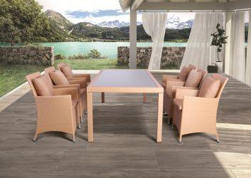 Комплект мебели Samana-6 из ротанга Elit (SC-8849) Brown MB1034 ткань A13815 - интерьер - фото 3