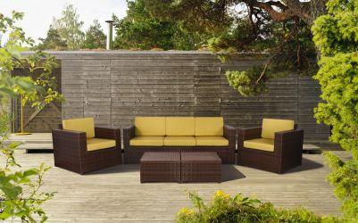 Комплект мебели Santo из ротанга Elit (SC-B9508) Brown Mixed YF1217 ткань A14203 - интерьер - фото 2