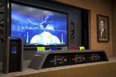 Кресло АЭРО HB Line Color сиденье Сетка чёрная,Неаполь N-20/спинка Сетка синяя, вставка Неаполь N-20 - интерьер - фото 1