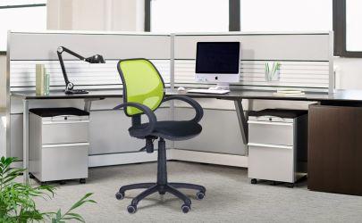Кресло Байт/АМФ-4 сиденье Сетка черная/спинка Сетка лайм - интерьер - фото 1