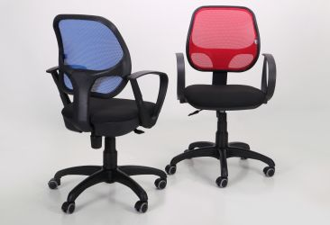 Кресло Байт/АМФ-5 сиденье Сетка черная/спинка Сетка оранжевая - интерьер - фото 8