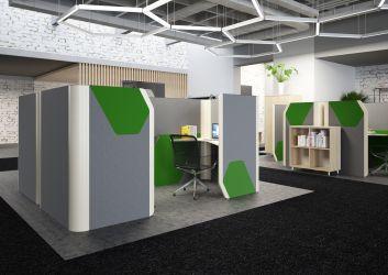 Кабина двойная Cobi фетр серый/фетр зеленый черный графит - интерьер - фото 1